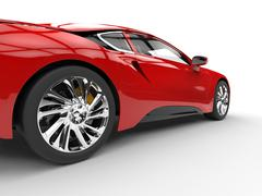 Modern red sports car - rear wheel closeup - stock illustration