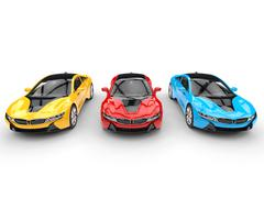 Sports cars - top front view - primary colors - stock illustration