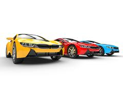 Sports cars - primary colors - stock illustration