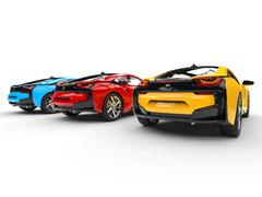 Three sports cars - primary colors - back view - stock illustration