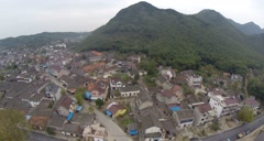 China small rural mountain village aerial drone - stock footage