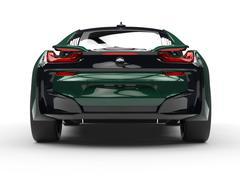 Dark green futuristic sports car - back view - stock illustration