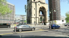 Memorial church in Berlin city west with traffic and touris Stock Footage