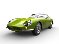 Metallic green classic sports car - front view closeup shot Stock Illustration