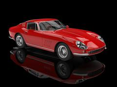 Red classic sports car - studio shot with ground reflections Stock Illustration