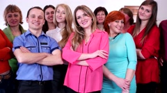 Group of successful happy people smiling and looking at the camera. Stock Footage