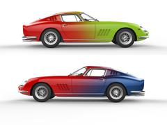 Retro sports cars - color mix - side view Stock Illustration