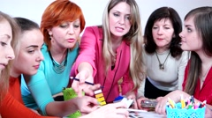 Group of business woman working in a team in a multi-colored clothes. Stock Footage