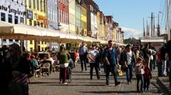 Scenic Nyhavn District Daytime  - Copenhagen Denmark Stock Footage