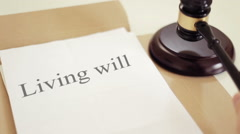 Living will  title on Legal Documents Stock Footage