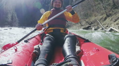 An active kayaker on the rough water. Slow motion - stock footage