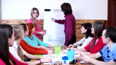Training in interpersonal relationships in the conference hall of a group. - stock footage