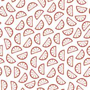 Citrus seamless pattern. Slices of tropical fruits - stock illustration