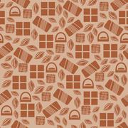 Seamless pattern with chocolate sweets isolated on white background - stock illustration
