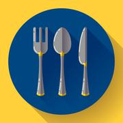 Dishes - Spoon knife and fork icon. Flat vector design with long shadow. Stock Illustration