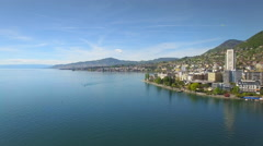 4K iconic aerial shot of Montreux Switzerland Stock Footage