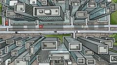 Overlooking Large City Cartoon: Looping - stock footage