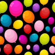 Color Glossy Balloons Seamles Pattern Background Vector Illustra - stock illustration