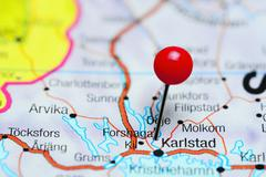 Forshaga pinned on a map of Sweden Stock Photos
