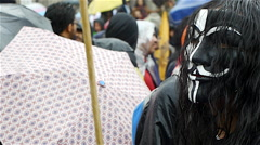 "Ayotzinapa Protest 2015 Mexico City ""Anonymus Mexico"" Man with Mask Stock Footage"