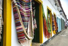 Hammocks, market place in the Old Town of Paraty, Rio de Janeiro, Brazil - stock photo
