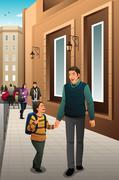 Father Son Walking to School - stock illustration