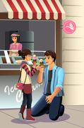 Father Daughter Eating Ice Cream - stock illustration