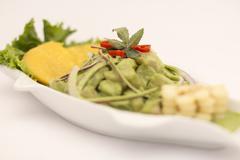 Peru Dish: Cebiche (ceviche) en Crema Andina. Made with basil, coriander, fresh  Stock Photos