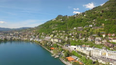 4K Swiss Riviera aerial - hotels and Montreux Palace Stock Footage