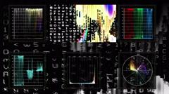 Technical screen display of pulsing video data - Videoscope 001 HD, 4K Stock Footage