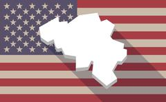 Long shadow USA flag icon with   the map of Belgium - stock illustration