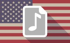 Long shadow USA flag icon with   a music score icon Stock Illustration