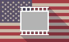 Long shadow USA flag icon with    a photographic 35mm film strip - stock illustration