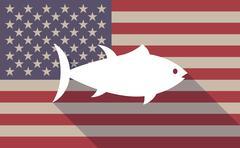 Long shadow USA flag icon with   a tuna fish - stock illustration