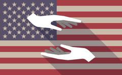 Long shadow USA flag icon with   two hands giving and receiving  or protectin - stock illustration