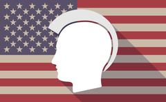 Long shadow USA flag icon with   a male punk head silhouette Stock Illustration