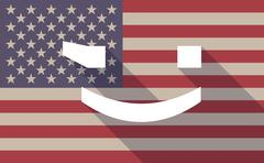 Long shadow USA flag icon with   a wink text face emoticon - stock illustration