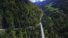 4K mountain bridge / road aerial shot Stock Footage
