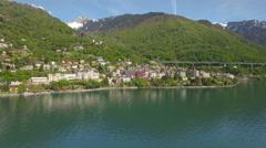 4K Swiss riviera aerial shot Stock Footage