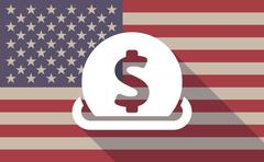 Long shadow USA flag icon with   a dollar coin entering in a moneybox - stock illustration