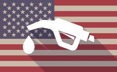 Long shadow USA flag icon with   a gas hose icon - stock illustration