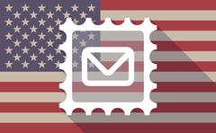 Long shadow USA flag icon with   a mail stamp sign Stock Illustration