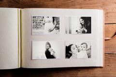 Mothers day composition. Photo album, black-and-white pictures Stock Photos