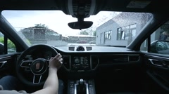 Driving the car in rainy weather interior view Stock Footage