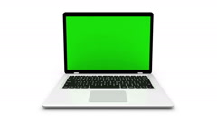 Modern laptop isolated on white. Animation with green screen and alpha channel. - stock footage