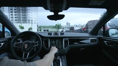 Man uses the display in the car Stock Footage