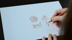 We draw the warning signs. Stock Footage