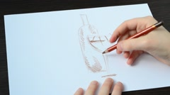 We draw a glass with a bottle. Stock Footage
