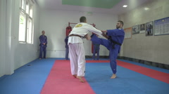 Self defense from the gun assault,real aikido by Pakito,slow motion,crane shot. - stock footage