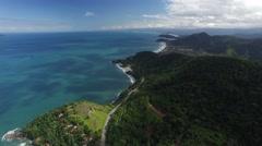 Aerial View of Sao Sebastiao Coastline, Sao Paulo, Brazil Stock Footage